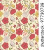 Seamless floral pattern with simple vintage field flowers - stock vector