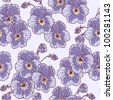 Seamless floral pattern with vintage pansies (violet) flower - stock vector