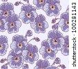 Seamless floral pattern with vintage pansies (violet) flower - stock vector