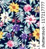seamless flowers, tropical floral pattern,big flowers in blossom - stock vector