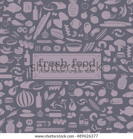 Seamless food pattern made from small vegetable, fruits and cooking accessories illustrations with fresh food lettering on rounded label.