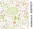 seamless forest pattern - stock vector