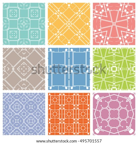 Seamless geometric line patterns set. Contemporary graphic design. Endless texture for wallpaper, pattern fills, web page line backgrounds. Colorful geometric ornaments.