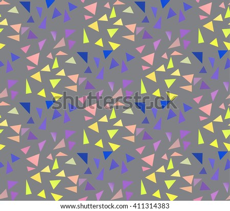 Seamless geometric pattern. Colored triangles on a gray background. Vector illustration.