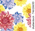 seamless hand draw pattern with pink,yellow,blue dahlia on white  background, vector - stock vector
