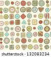 Seamless hand drawn doodle pattern with buttons. Endless decorative texture with sewing furniture. Template for design, decoration, scrapbooking - stock vector