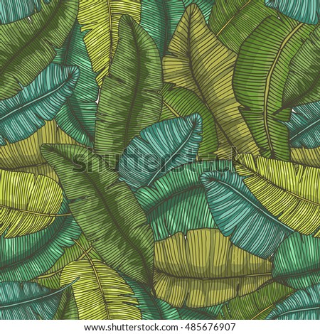 Seamless hand drawn pattern with banana leaves / tropical leaves texture / botanic vector hand drawn illustration