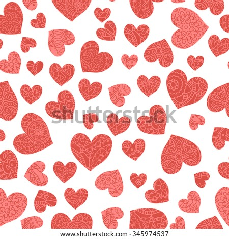 Seamless hand drawn pattern with doodle hearts