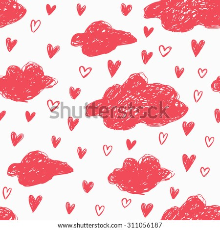 Seamless hand drawn romantic pattern