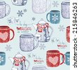 Seamless hand drawn tea pattern with knitted objects and snowflakes. Vector illustration - stock