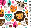 Seamless happy animal zoo illustration background pattern in vector - stock vector