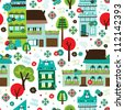 Seamless happy holidays retro christmas background pattern in vector - stock photo