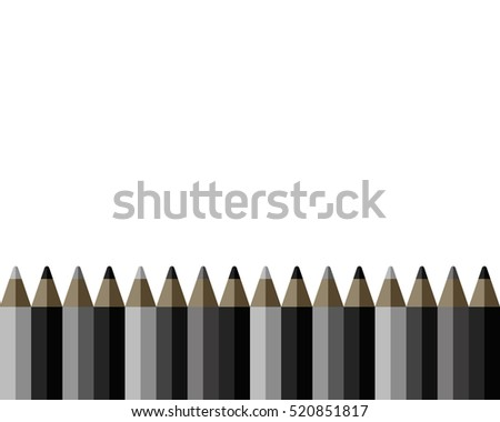 Seamless horizontal background. Flat border, black and grey pencils vector design on white background. Illustration for lstationery, scrapbooking and school drawing