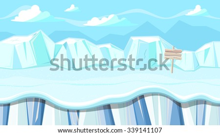 Seamless horizontal winter background with icy mountains for video game