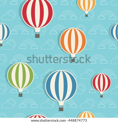 seamless hot air balloon pattern on blue cloud background, with clipping path