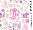 Seamless india buddha oriental travel illustration background pattern in vector - stock photo