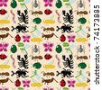 seamless insect pattern - stock vector