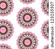 Seamless kaleidoscope floral pattern - stock photo