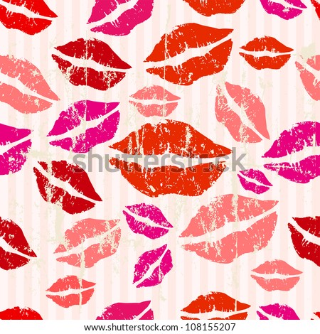 Seamless kiss and love background, grungy vector