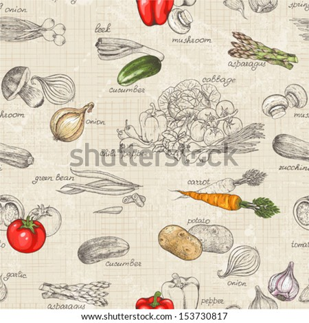 stock vector seamless kitchen background of vegetables vector illustration in vintage style 153730817 - Каталог — Фотообои «Еда, фрукты, для кухни»