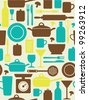 seamless kitchen pattern. vector illustration - stock vector