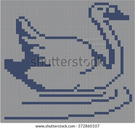 Seamless knit background - goose. Jacquard pattern. Vector illustration