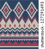 seamless Knitted wool pattern background in Fair Isle style - stock vector
