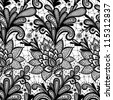 Seamless lace floral pattern. Vintage invitation. Grunge background with lace ornament.  Black and White. - stock vector