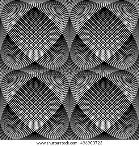 Seamless meshy op art pattern. 3D illusion. Vector illustration.