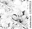 seamless monochrome vector pattern from abstract flowers - stock photo