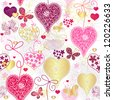 Seamless motley valentine pattern with decorative hearts and butterflies (vector) - stock photo