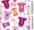 Seamless new born baby pink fashion girl pattern background in vector - stock vector