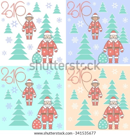 Seamless New Year pattern with Santa, monkey, snowflakes and firs . Background design. Light blue, green, brown, white, sand
