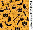 Seamless orange and black pattern with Halloween elements include in cat, ghost, spider and pumpkin. Vector illustration - stock vector