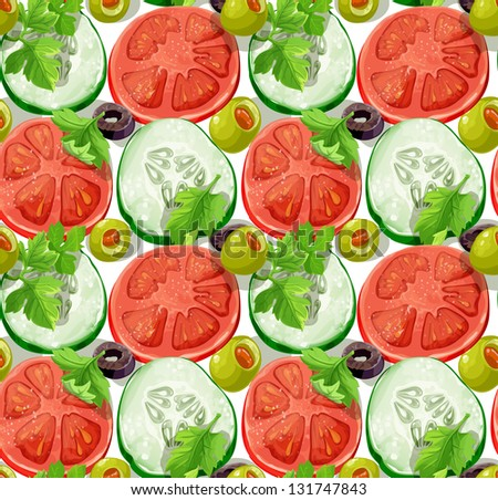 stock vector seamless ornament delicious slices of cucumber tomatoes olives and herbs big version 131747843 - Каталог — Фотообои «Еда, фрукты, для кухни»