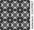 Seamless ornamental abstract retro pattern background black and white vector illustration - stock photo