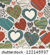Seamless ornate pattern with hearts. Endless hand drawn cute background. Craft texture with many details - stock vector