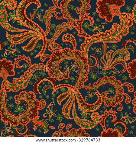 Seamless Paisley background.Colorful flowers and leafs on black background. Vector illustration.