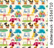 seamless park playground pattern - stock