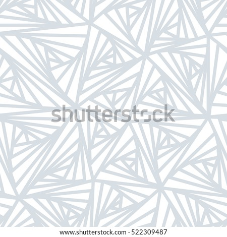 Seamless pattern. Abstract line geometric ornament. Light white and grey winter background