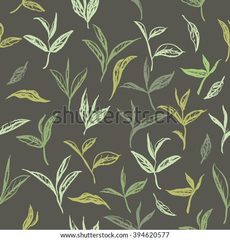 Seamless pattern based on ink painted tea leaves and branches. Great for cafe, bars, tea ads, wallpaper, wrapping paper.