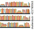 Seamless pattern book shelf with books. Vector. - stock photo
