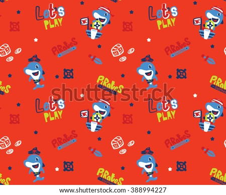 Seamless pattern cartoon pirate dolphin on a orange background vector illustration.