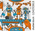 Seamless pattern cartoon robots on the assembly line - stock vector