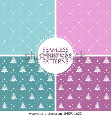 Seamless pattern. Christmas ornament with xmas balls and dotted rhombuses. Holiday background in trendy colors.