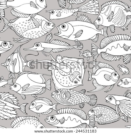 Seamless Pattern Fish Composition Black & White