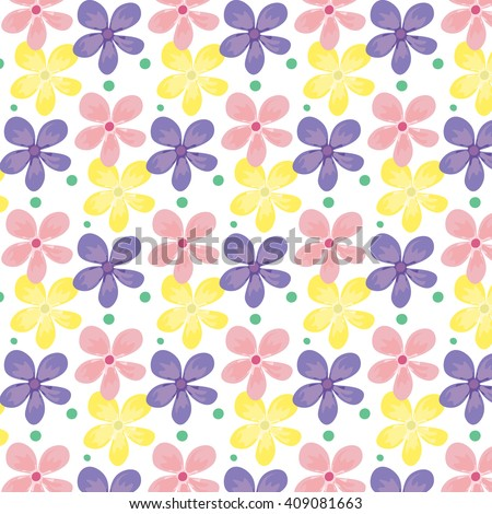 Stock vector seamless pattern of purple and pink watercolor hearts on - Cute Spring Flowers Dots Seamless Pattern Stock Vector