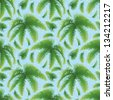 Seamless pattern, green branches with leaves of palm trees on a background of blue sky. Vector - stock vector
