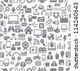 Seamless pattern Icons for Web, Applications and Tablet Mobile. Vector illustration - stock photo