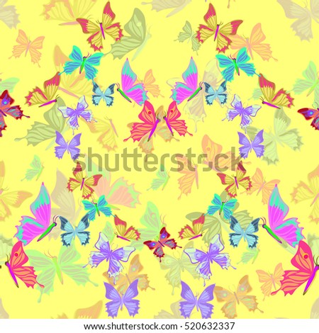 Seamless pattern lovely multicolored butterflies fly in the form of heart  on yellow vector illustration